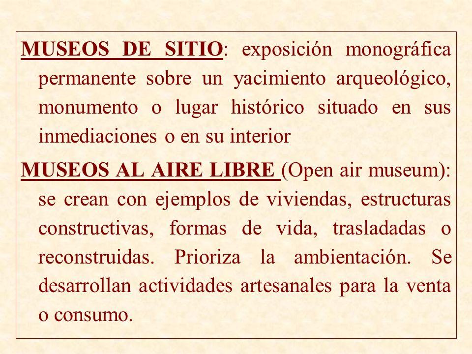 MUSEOS DE SITIO: exposición monográfica permanente sobre un yacimiento arqueológico, monumento o lugar histórico situado en sus inmediaciones o en su interior