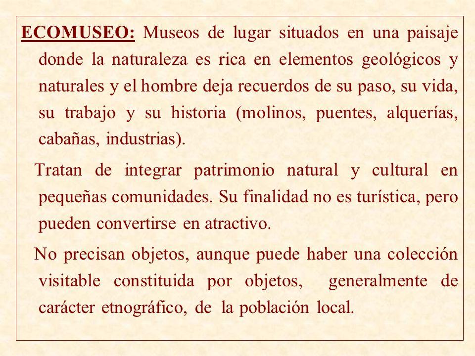 ECOMUSEO: Museos de lugar situados en una paisaje donde la naturaleza es rica en elementos geológicos y naturales y el hombre deja recuerdos de su paso, su vida, su trabajo y su historia (molinos, puentes, alquerías, cabañas, industrias).