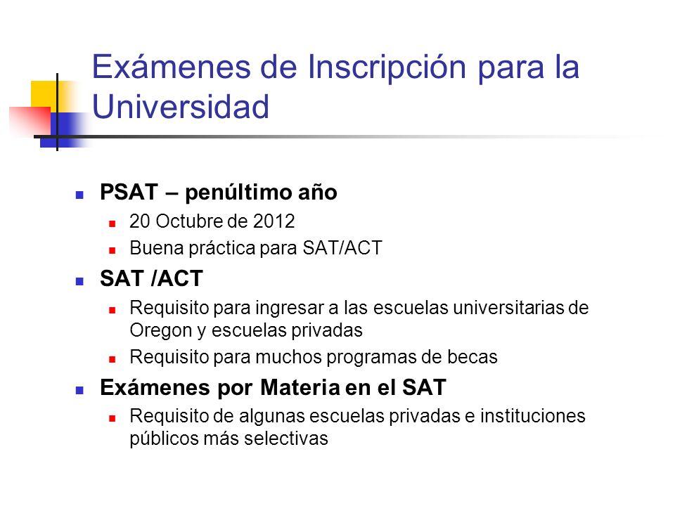 Exámenes de Inscripción para la Universidad