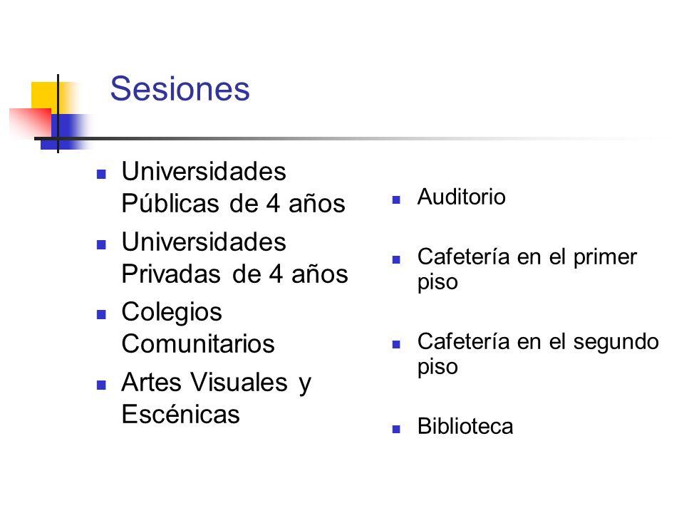 Sesiones Universidades Públicas de 4 años