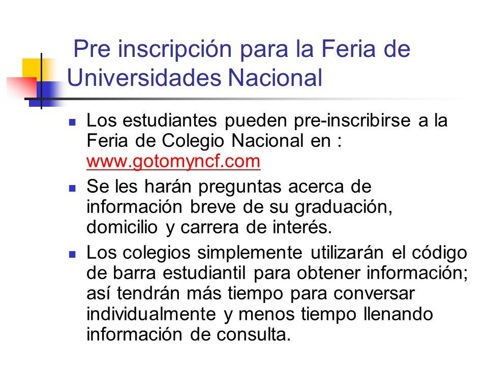 Pre inscripción para la Feria de Universidades Nacional