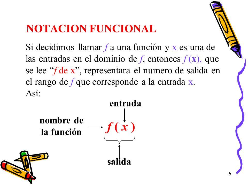 f ( x ) NOTACION FUNCIONAL