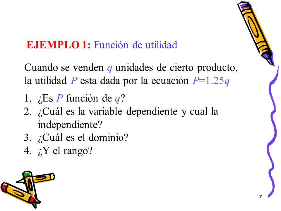 EJEMPLO 1: Función de utilidad