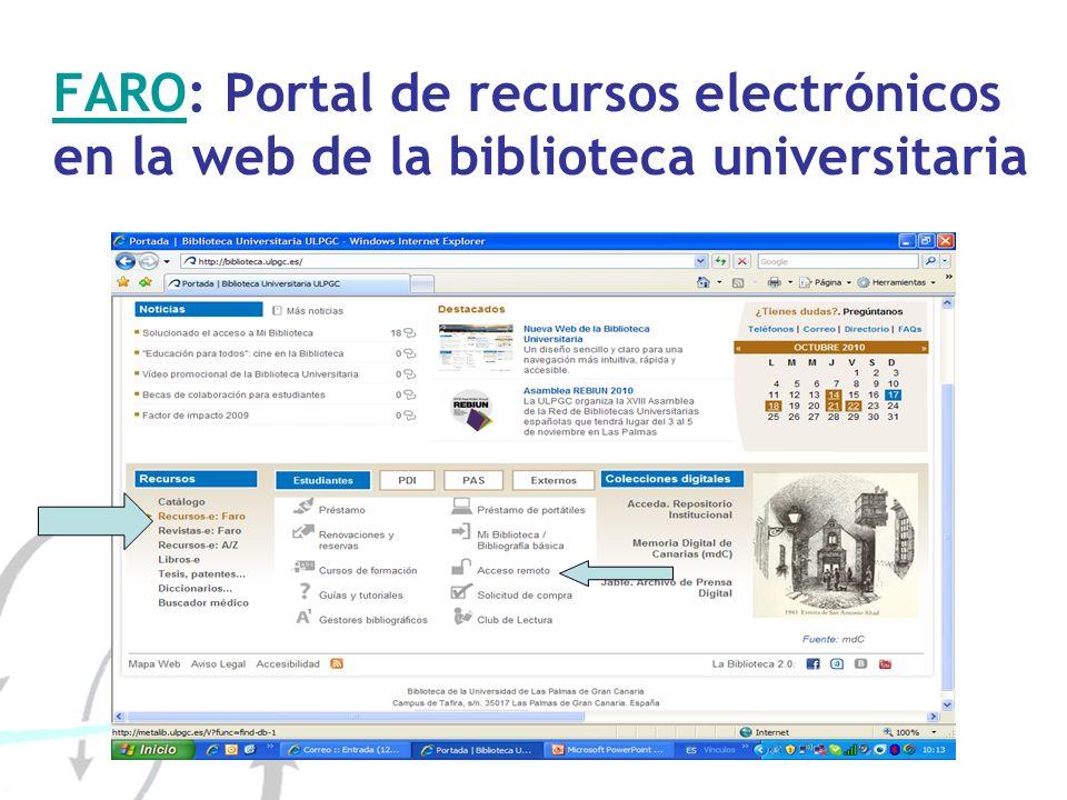 FARO: Portal de recursos electrónicos en la web de la biblioteca universitaria