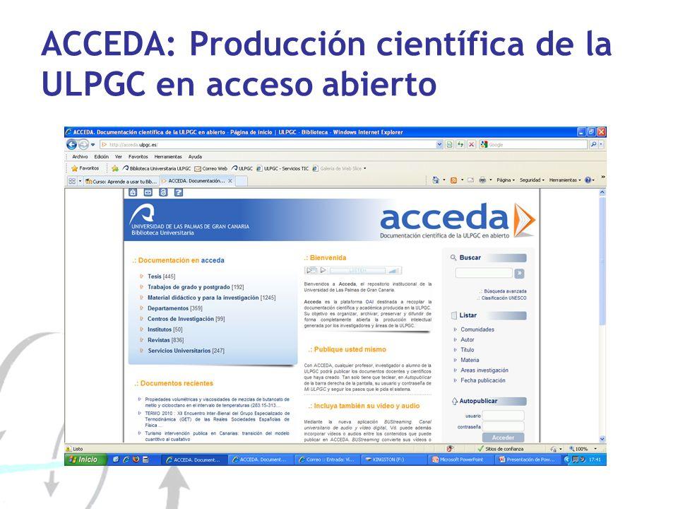 ACCEDA: Producción científica de la ULPGC en acceso abierto