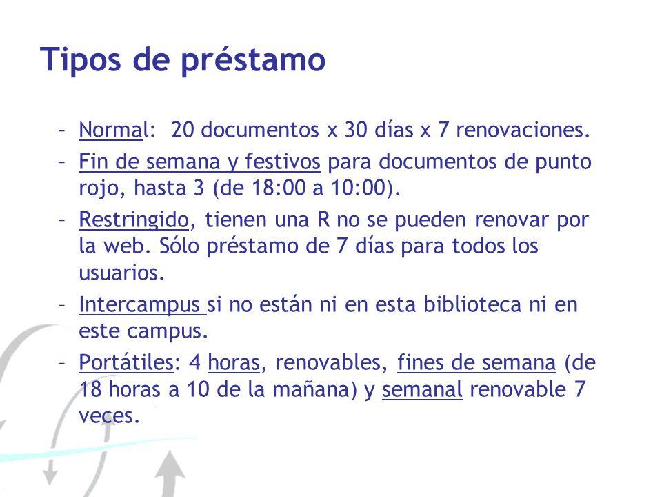 Tipos de préstamo Normal: 20 documentos x 30 días x 7 renovaciones.