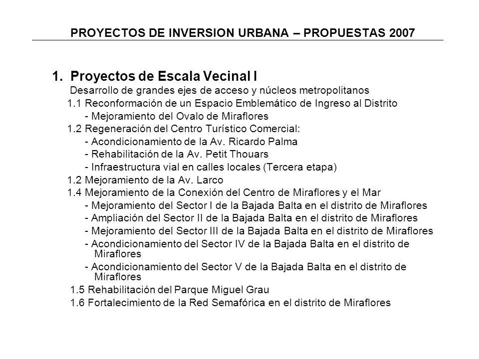 PROYECTOS DE INVERSION URBANA – PROPUESTAS 2007