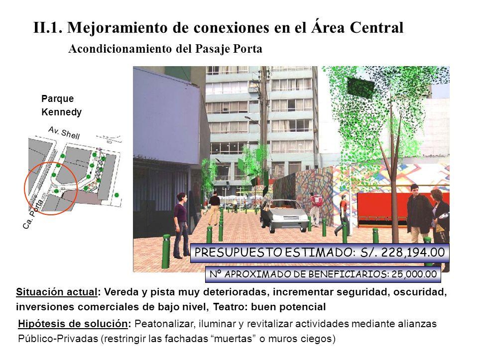 II.1. Mejoramiento de conexiones en el Área Central