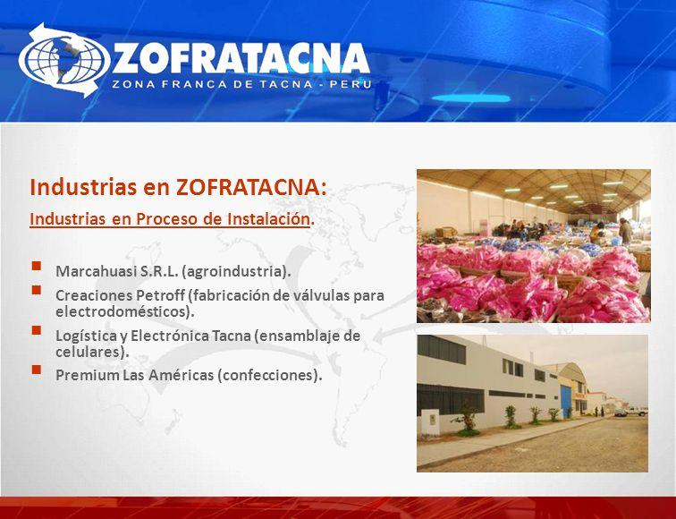 Industrias en ZOFRATACNA: