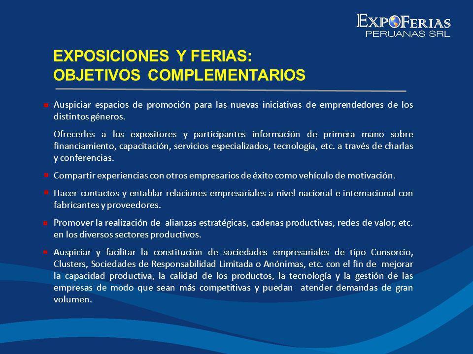 EXPOSICIONES Y FERIAS: OBJETIVOS COMPLEMENTARIOS