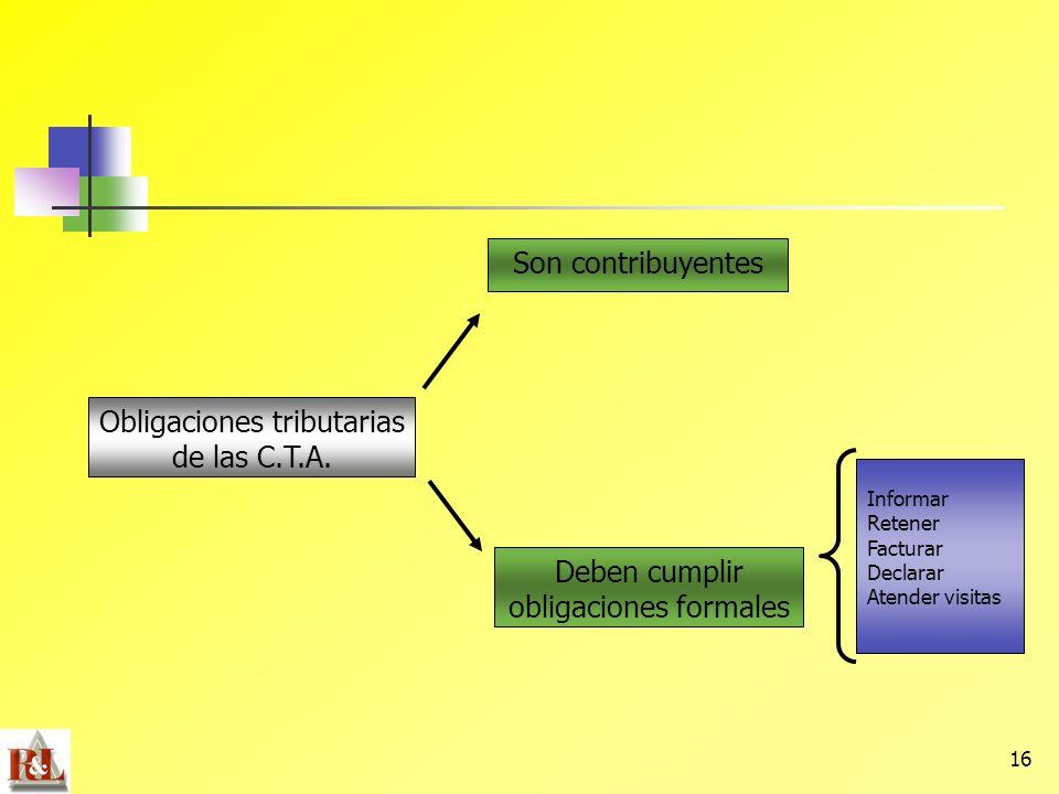 Obligaciones tributarias de las C.T.A.