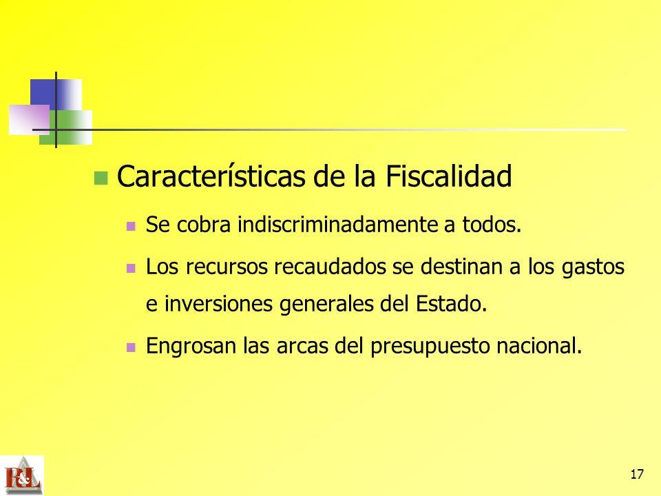 Características de la Fiscalidad