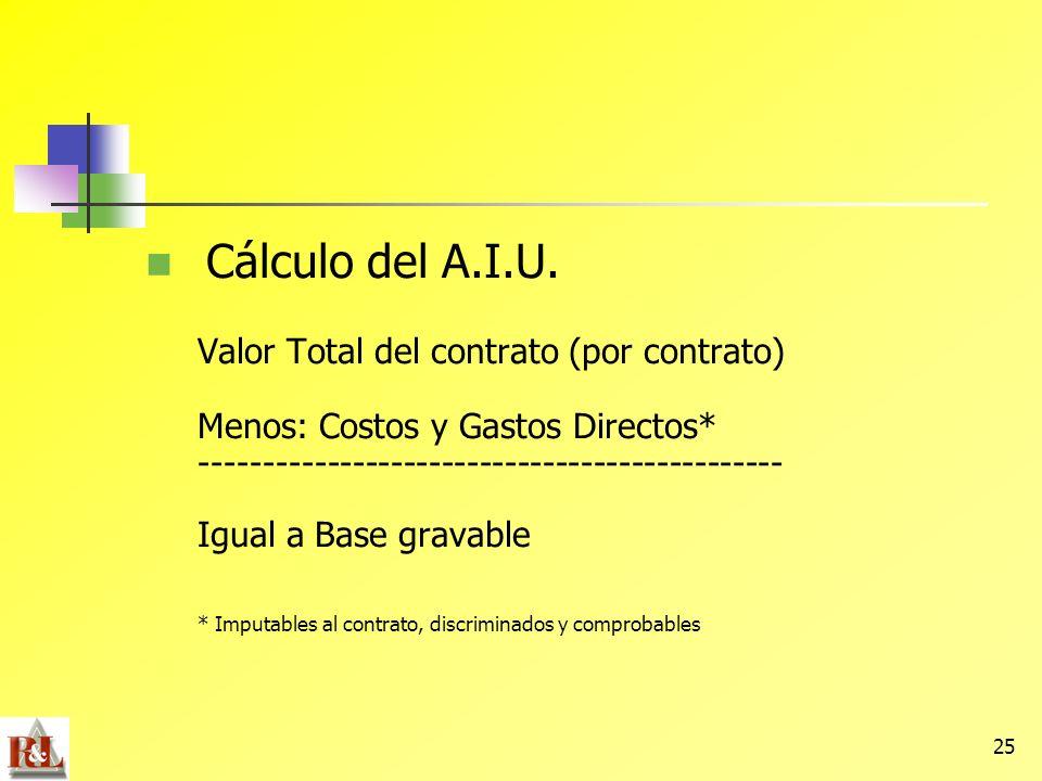 Cálculo del A.I.U. Valor Total del contrato (por contrato)