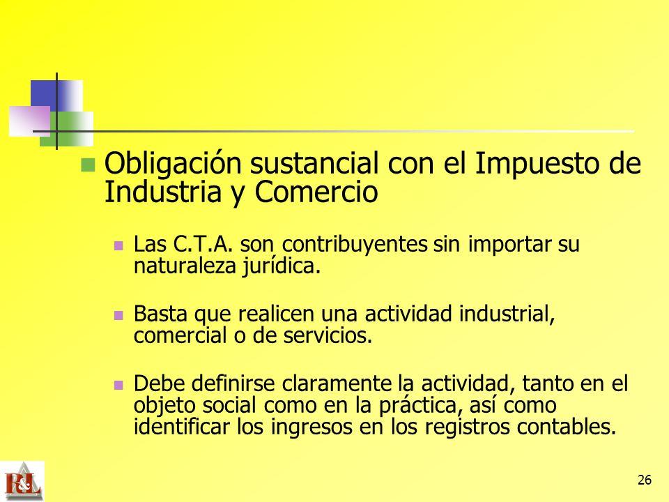 Obligación sustancial con el Impuesto de Industria y Comercio