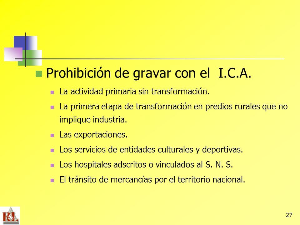Prohibición de gravar con el I.C.A.