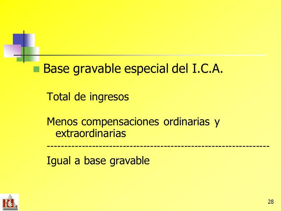Base gravable especial del I.C.A.