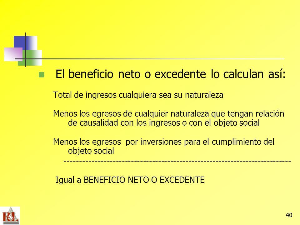 El beneficio neto o excedente lo calculan así: