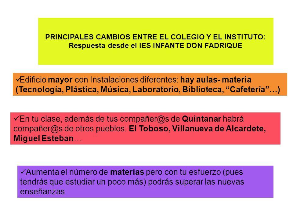 PRINCIPALES CAMBIOS ENTRE EL COLEGIO Y EL INSTITUTO: Respuesta desde el IES INFANTE DON FADRIQUE