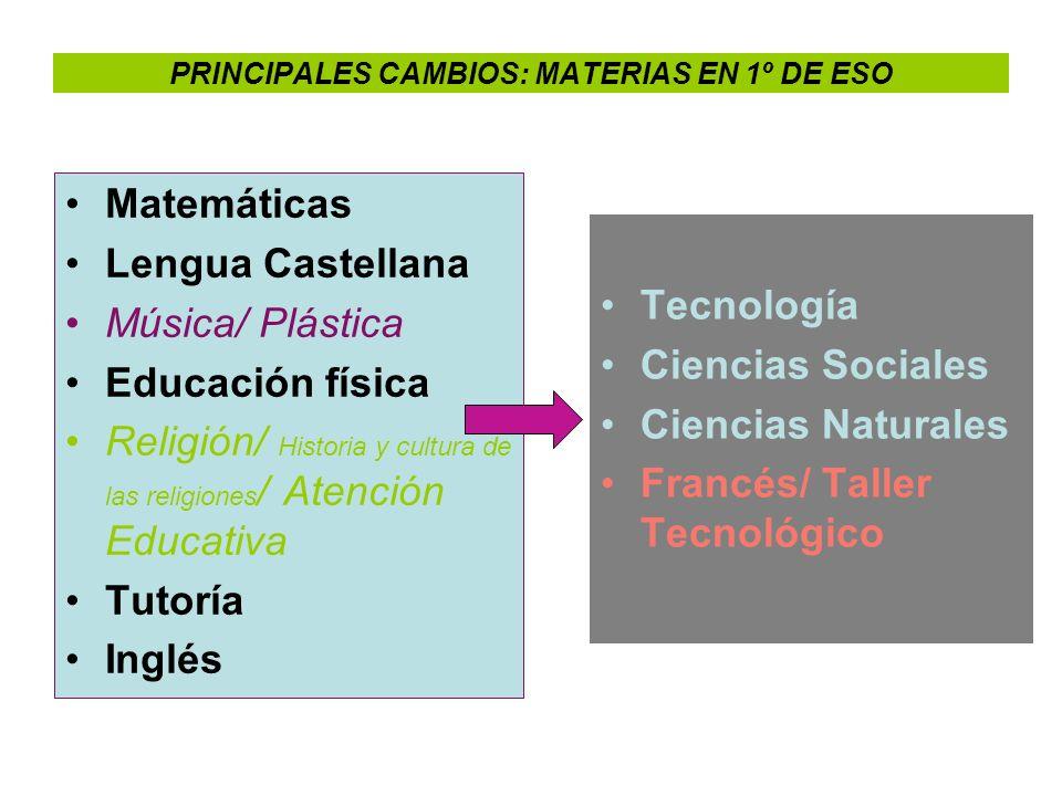 PRINCIPALES CAMBIOS: MATERIAS EN 1º DE ESO