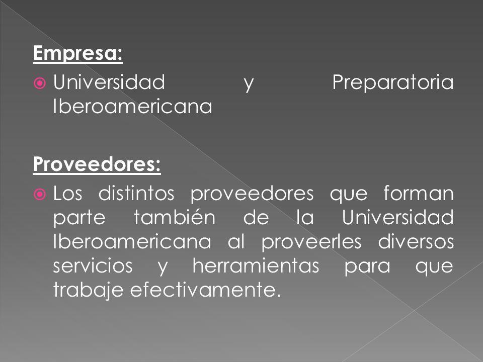Empresa: Universidad y Preparatoria Iberoamericana. Proveedores:
