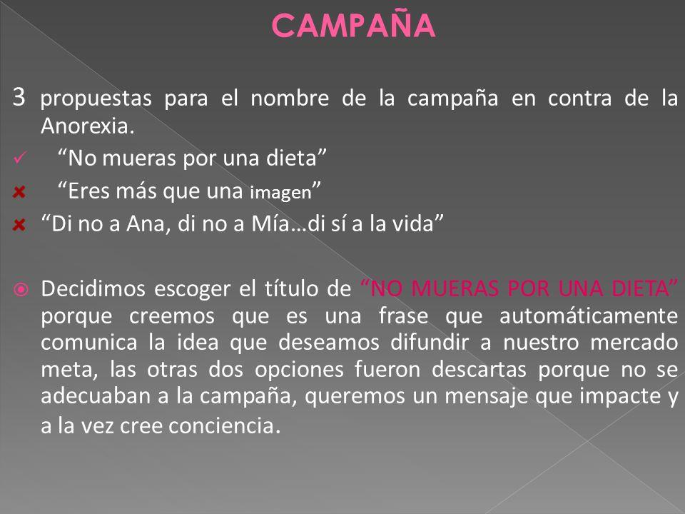 CAMPAÑA 3 propuestas para el nombre de la campaña en contra de la Anorexia. No mueras por una dieta