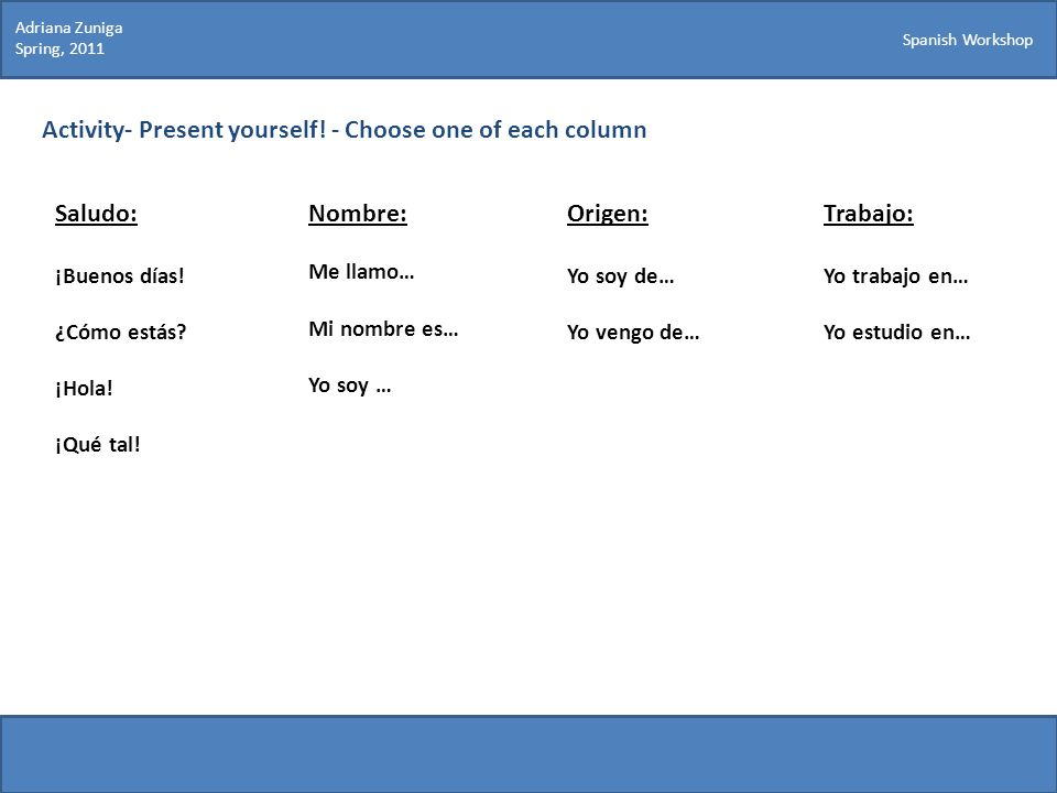 Activity- Present yourself! - Choose one of each column