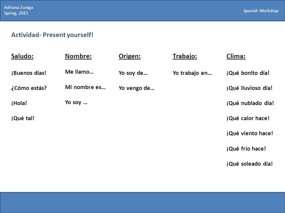 Actividad- Present yourself!