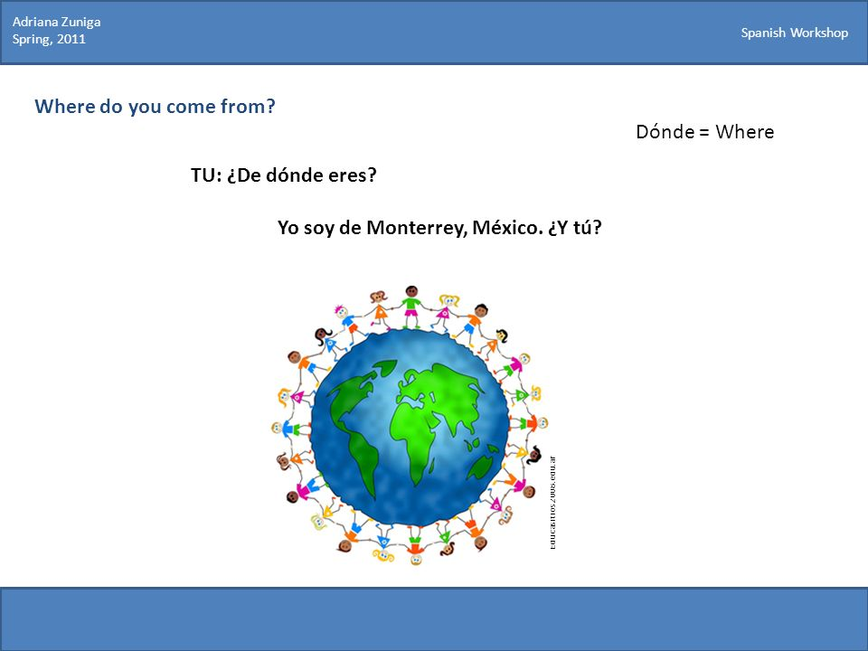 Yo soy de Monterrey, México. ¿Y tú