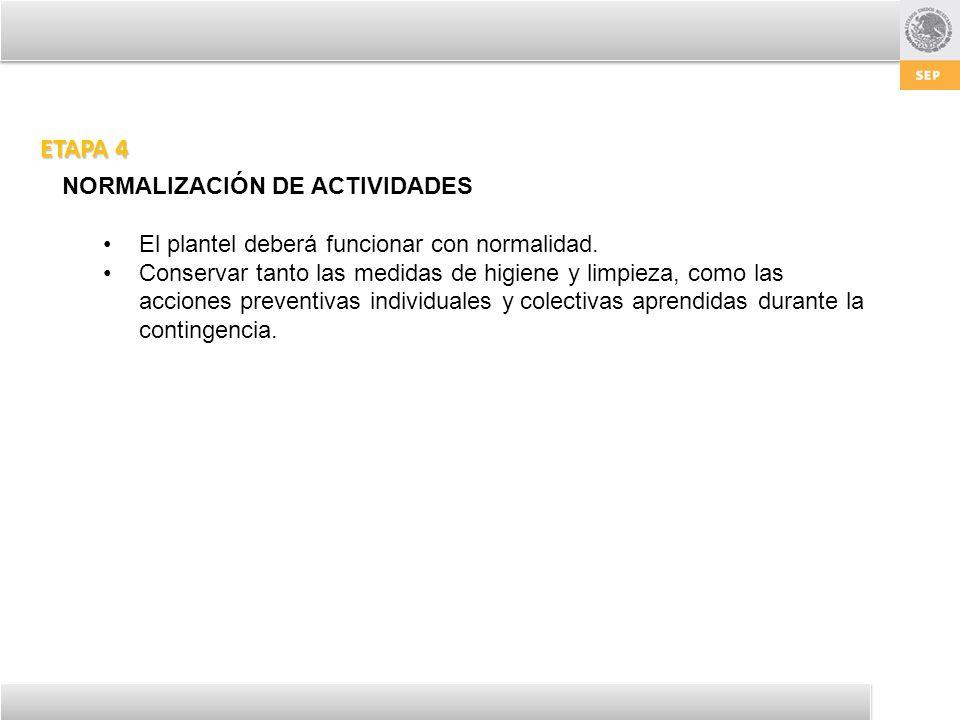 ETAPA 4 NORMALIZACIÓN DE ACTIVIDADES