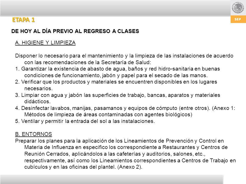 ETAPA 1 DE HOY AL DÍA PREVIO AL REGRESO A CLASES A. HIGIENE Y LIMPIEZA