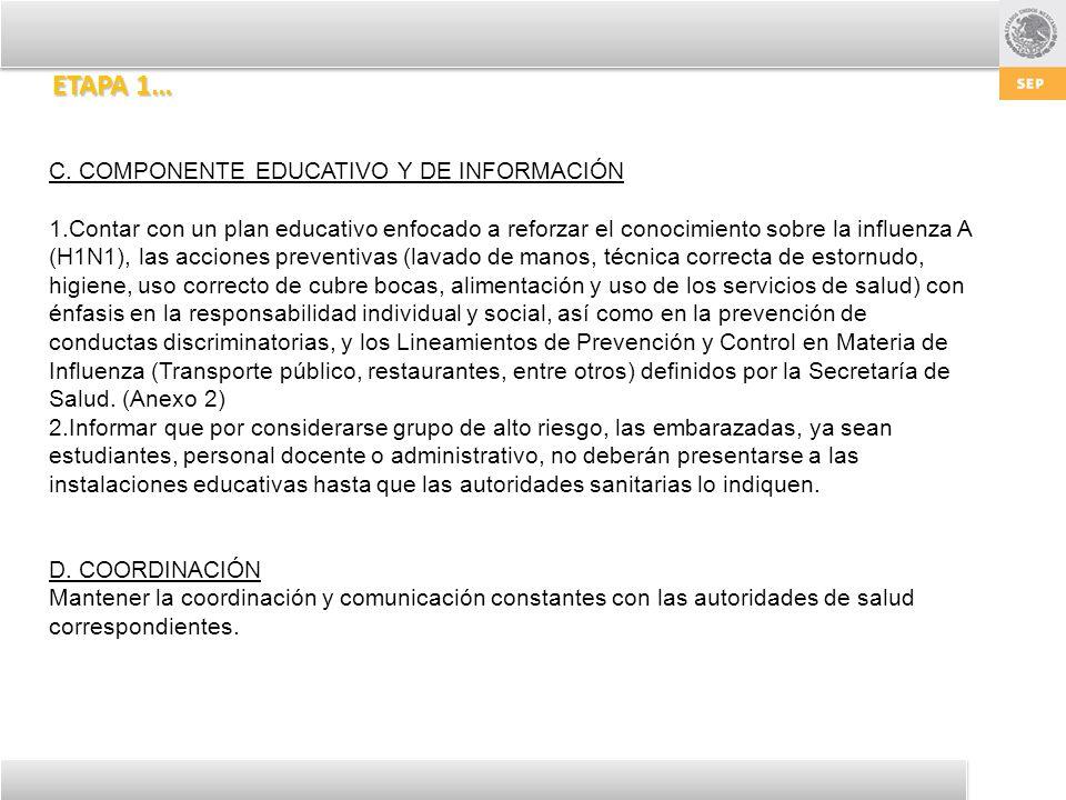 ETAPA 1… C. COMPONENTE EDUCATIVO Y DE INFORMACIÓN