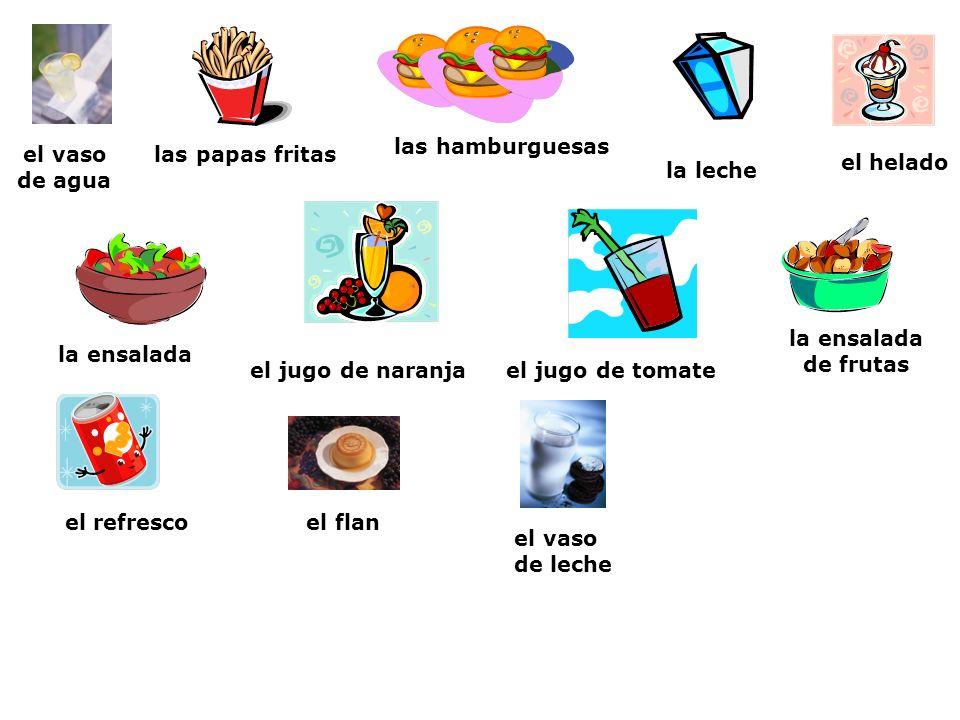 las hamburguesasel vaso. de agua. las papas fritas. el helado. la leche. la ensalada de frutas. la ensalada.