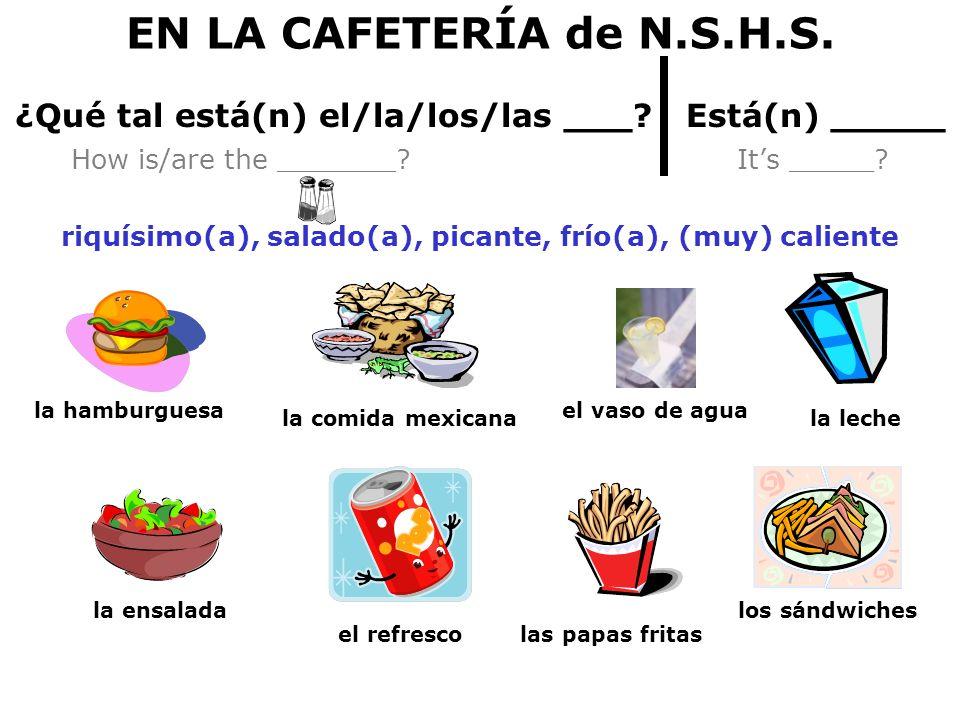 EN LA CAFETERÍA de N.S.H.S. ¿Qué tal está(n) el/la/los/las ___ Está(n) _____.