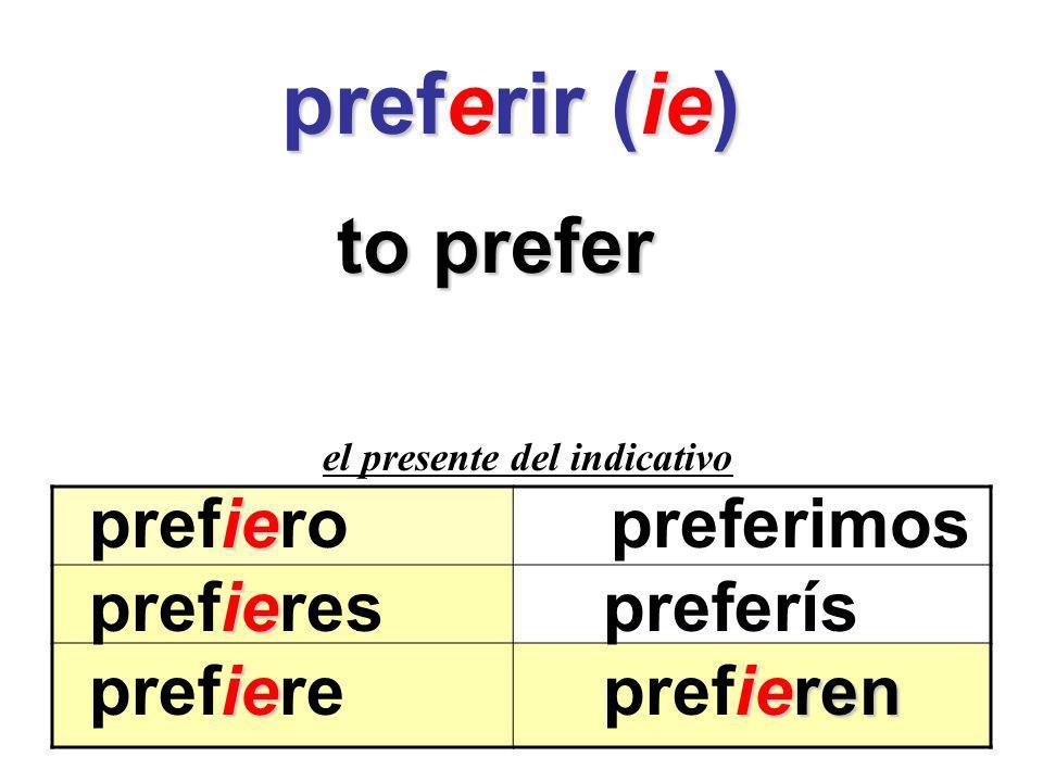 preferir (ie) to prefer prefiero preferimos prefieres preferís