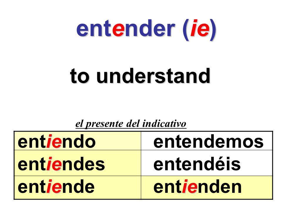 entender (ie) to understand entiendo entendemos entiendes entendéis
