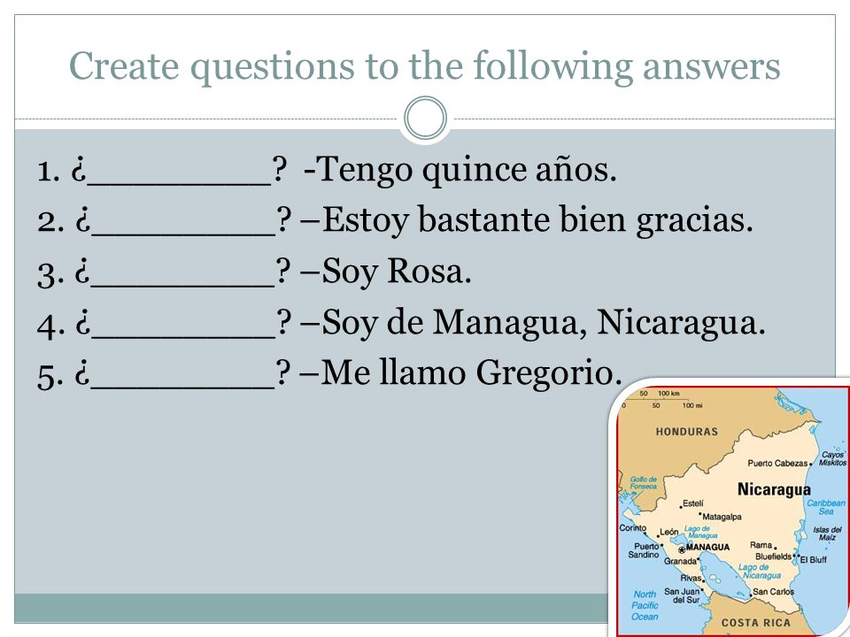 Create questions to the following answers