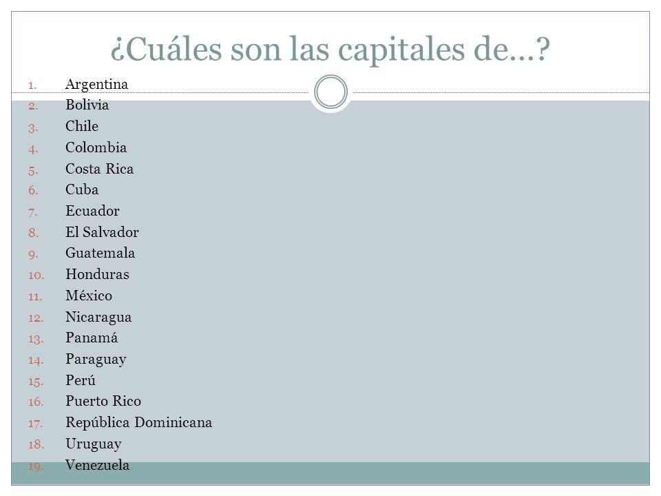 ¿Cuáles son las capitales de…