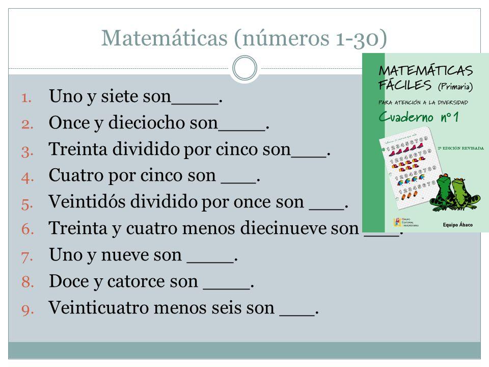 Matemáticas (números 1-30)
