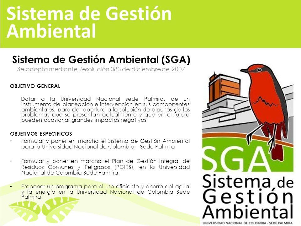Sistema de Gestión Ambiental (SGA) Se adopta mediante Resolución 083 de diciembre de 2007