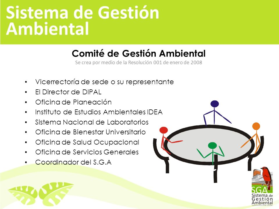 Comité de Gestión Ambiental Se crea por medio de la Resolución 001 de enero de 2008