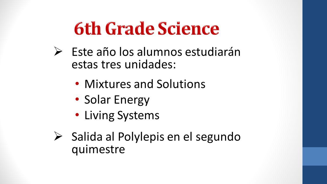 6th Grade Science Este año los alumnos estudiarán estas tres unidades: