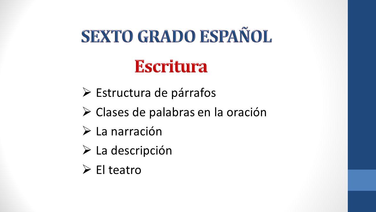SEXTO GRADO ESPAÑOL Escritura