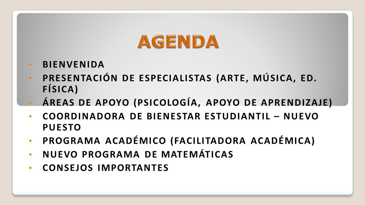 AGENDA Bienvenida. Presentación de especialistas (arte, música, ed. física) Áreas de apoyo (psicología, apoyo de aprendizaje)
