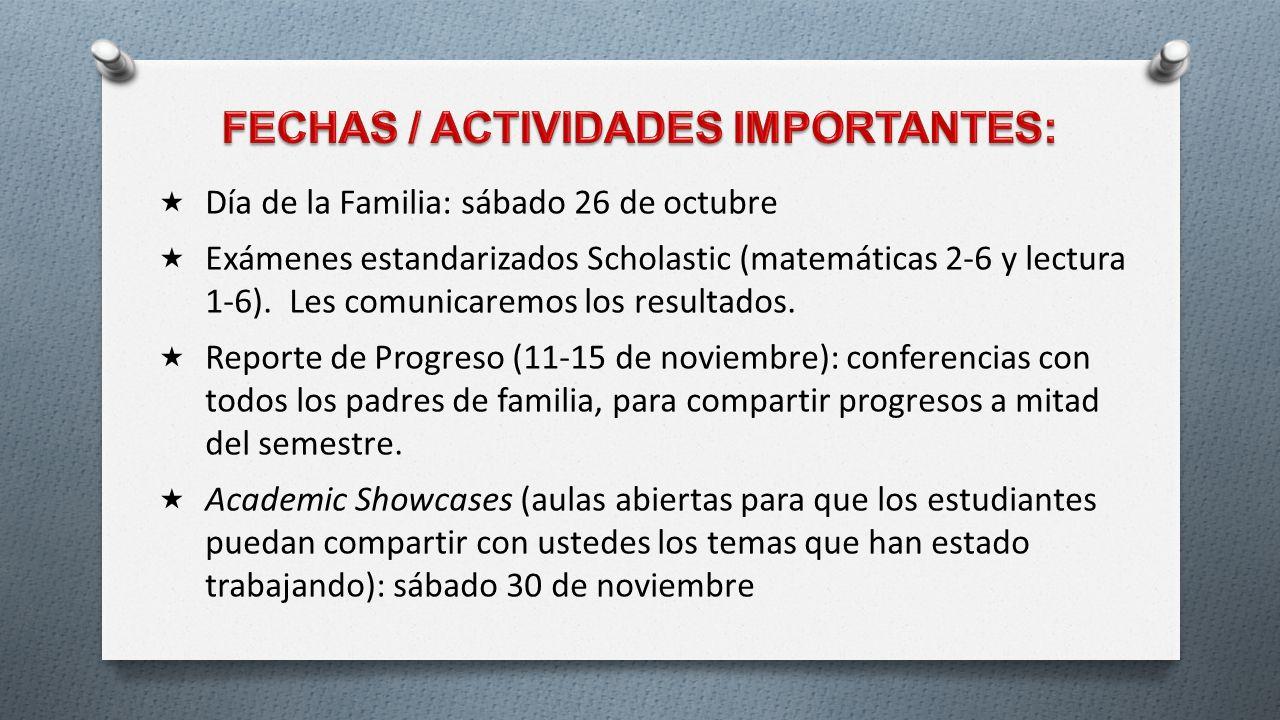FECHAS / ACTIVIDADES IMPORTANTES: