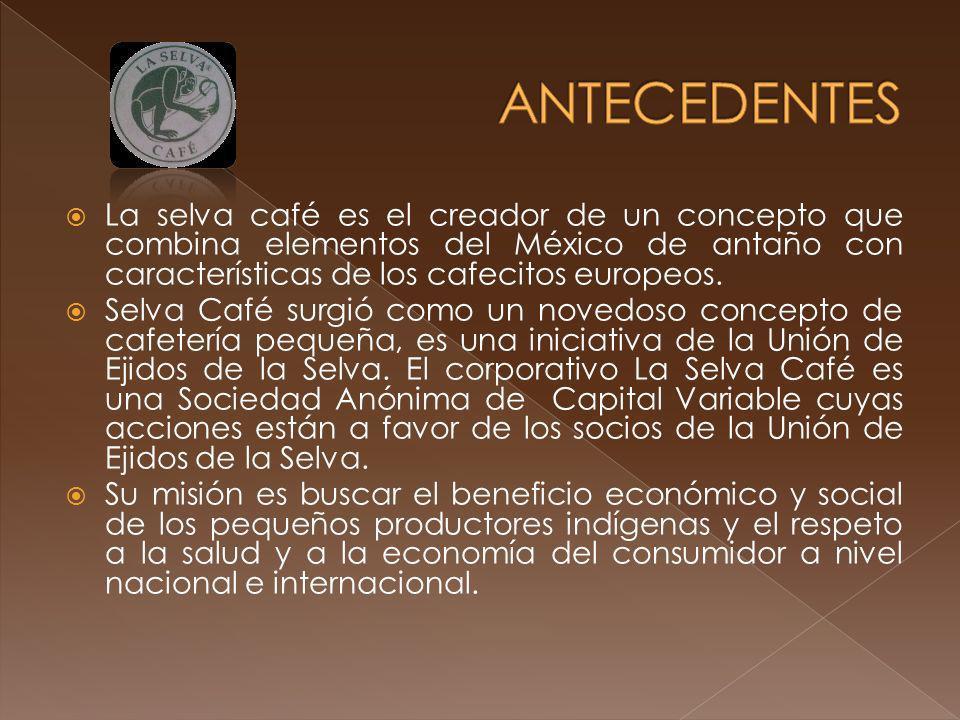 ANTECEDENTES La selva café es el creador de un concepto que combina elementos del México de antaño con características de los cafecitos europeos.
