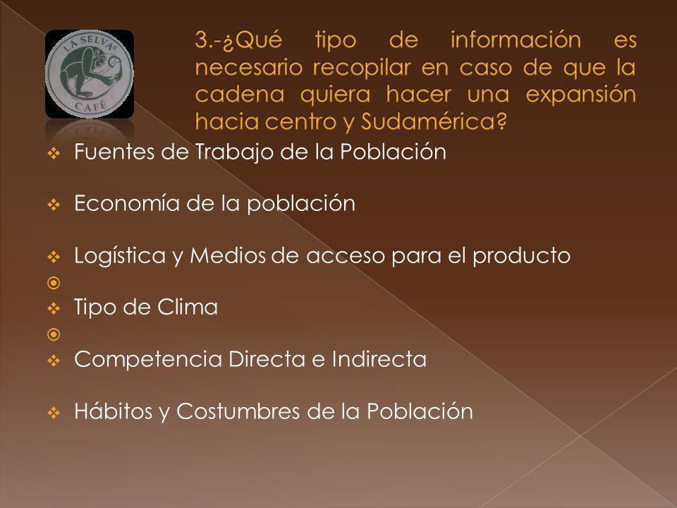 3.-¿Qué tipo de información es necesario recopilar en caso de que la cadena quiera hacer una expansión hacia centro y Sudamérica