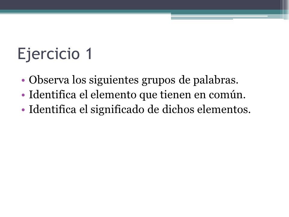 Ejercicio 1 Observa los siguientes grupos de palabras.