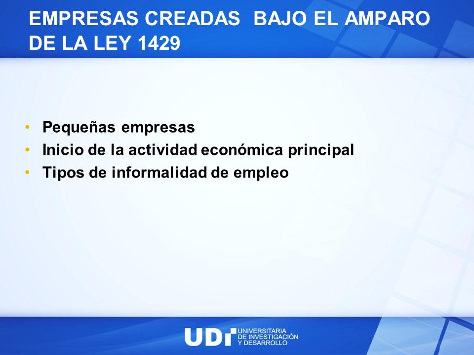 EMPRESAS CREADAS BAJO EL AMPARO DE LA LEY 1429