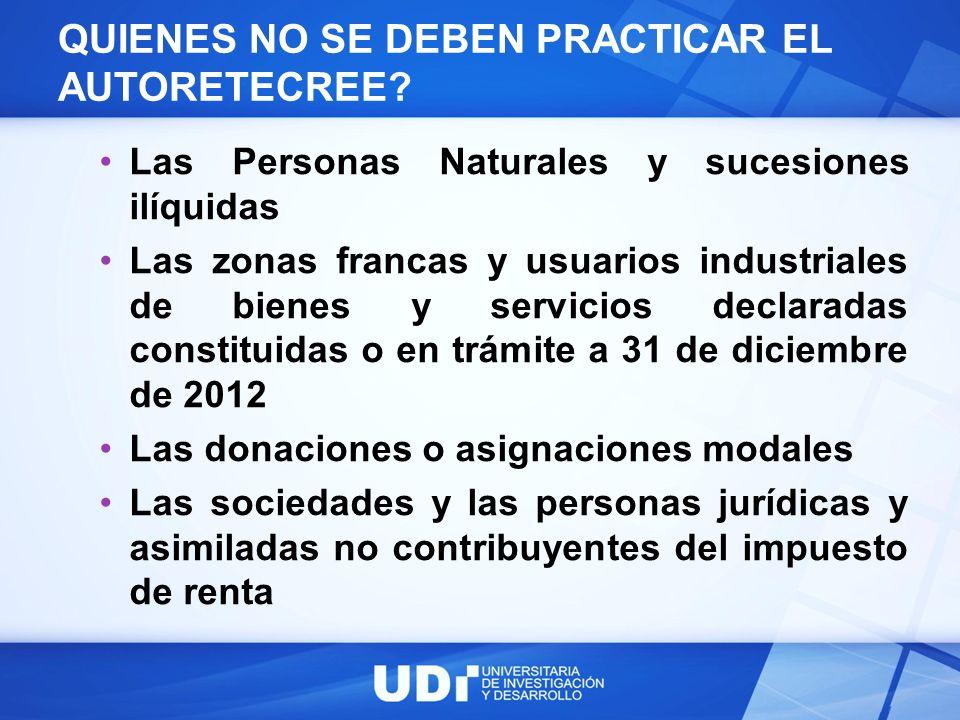 QUIENES NO SE DEBEN PRACTICAR EL AUTORETECREE