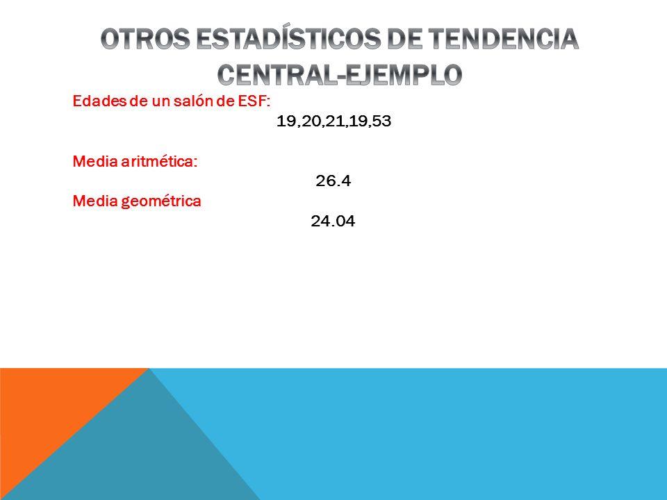 OTROS ESTADÍSTICOS DE TENDENCIA CENTRAL-EJEMPLO